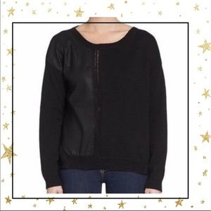 French Connection Faux Leather  black sweater (D5)